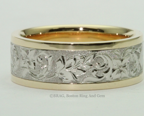 unique antique carved platinum and yellow gold men's wedding band