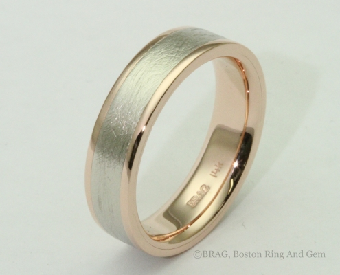modern unique two tone platinum and red rose gold men's wedding band