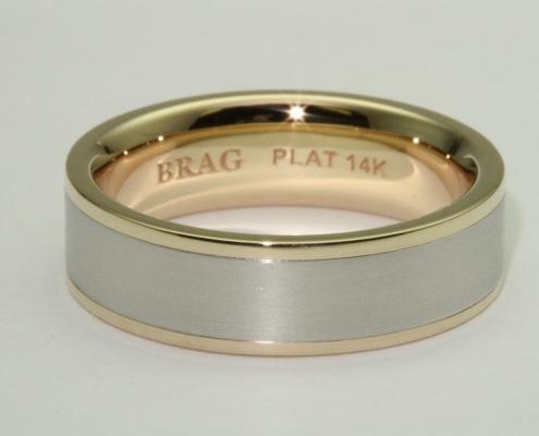modern platinum gold men's wedding band