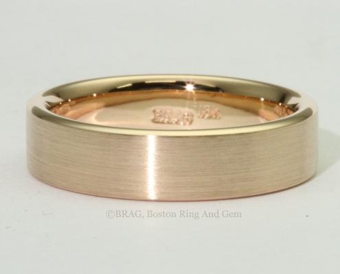 modern rose red gold mend wedding band