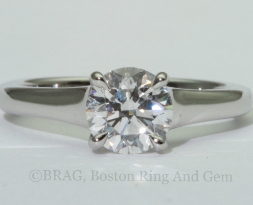 Solitaire platinum classic lucida cathedral ring